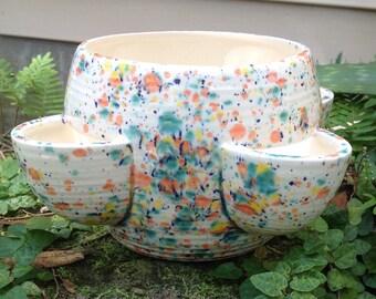 Planter, strawberry pot, ceramic, bright, orange, cobalt, yellow, green, white, Herb planter
