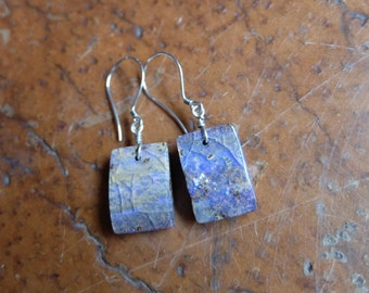 Boulder Opal jewelry - square Opal earrings - purple white grey - handmade in Australia by NaturesArtMelbourne