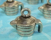 6 Measuring Cup Charms USA Made Pewter Silver (31011) Cooking Charm Jewelry Supplies Wine Charm Kitchen Theme Housewarming Hostess Gift Bulk