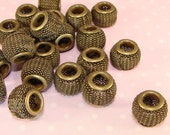 15 BRONZE Mesh Beads 12mm Beads (42731BRZ) Dark Antique Gold Metal Jewelry Supply for Bracelets Big Hoop Earrings Lightweight Chunky Bulk