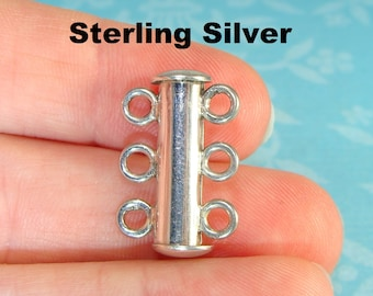 Sterling Silver TRIPLE Loop Barrel Clasp Tube Slide Clasp Toggle 21mm 925 Silver Multi Strand 3 Loop Jewelry Supplies Connector