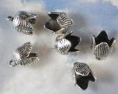 10 Flower Tube End Caps Terminators Antique Tibetan Silver Tone Kumihimo Findings 10mm Glue In (P1951)