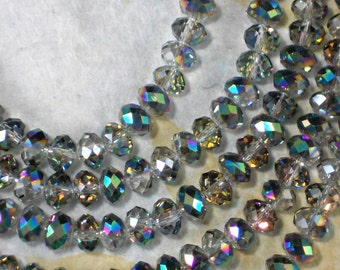68 Faceted Rondelles Crystal Beads Half Rainbow Iris AB 6mm x 8mm Rondelle Spacers (C9997)