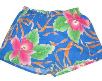 Vintage Floral Cotton Shorts Womens Elastic Waist Shorts Floral Shorts For Women Flower Print Shorts Women's Elastic Waist Shorts