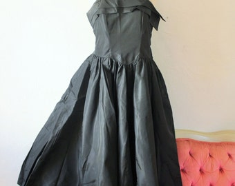 Black Chiffon Party Cocktail Prom Dress - Corset Top Tattered Frock - Fixer Upper