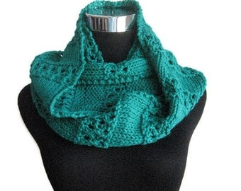The Stacey Scarf, Emerald Green Lace Striped Knit Infinity Scarf,Green Knit Circle Scarf , Vegan Knit Scarf, Infinity Cowl Scarf