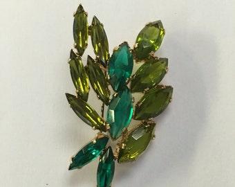Vintage Holiday Green Rhinestone Leaf Pin 1960s