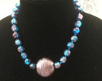 Vintage Autumn Fall Blue & Pink Glass Bead Pendant Necklace Venetian