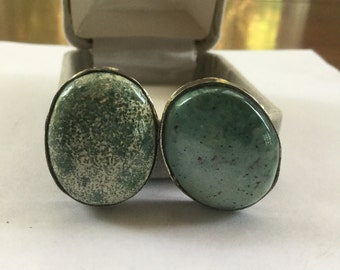 Vintage Sterling Silver Green Stone Earrings
