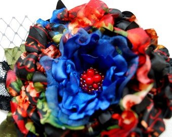 SALE, country love, colorful satin flower, brooch, bridal hair clip, bridesmaids headpiece, weddings accessories, black red blue, hair clips