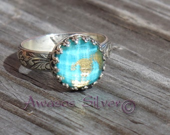 Beautiful Turquoise with Gold Sterling Silver Ring. Rose cut Turquoise and gold. Handcrafted turquoise with gold ring in sterling silver