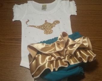 Princess Jasmine Aladdin Genie Ruffle Diaper Booty Cover AND Matching Genie Bottle Sparkle TOP NEWBORN-24m