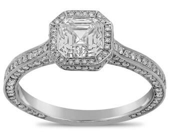 Asscher cut bezel set three sided antique style diamond engagement ring A27