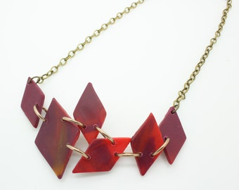Handmade polymer clay red diamonds necklace