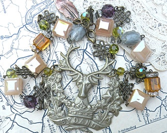 deer necklace assemblage stag nature fall