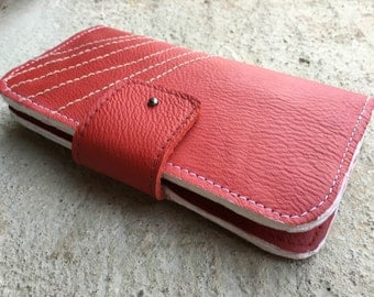 womens wallet, leather leather wallet, red leather wallet, iphone 7 wallet, classic wallet, money purse, clutch wallet , gift idea for mom