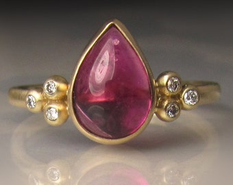 Pink Tourmaline Ring, Pink Tourmaline Cluster Ring,  Rubellite and Diamond Ring, 14k Gold Pink Tourmaline Ring