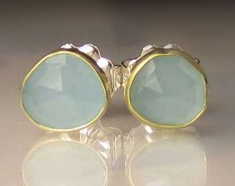Aquamarine Studs, Rose Cut Aquamarine Stud Earrings, 18k Yellow Gold and Sterling