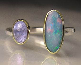 Boulder Opal and Tanzanite Ring - 18k Gold and Sterling Silver - Open Stone Cocktail Ring - sz 7 - 7.25