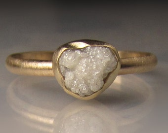 Raw Diamond Engagement Ring, White Raw Diamond Ring, 14k Yellow Gold Rough Diamond Ring