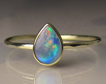 Slim Gold Boulder Opal Ring, 14k and 18k Gold Opal Ring, Petite Australian Opal Ring, Opal Engagement Ring