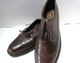 New Old Stock Vintage Sherman Exclusive Gentlemen's Footwear Oxford Wingtips Classic Shoes Brown Size 10.5, Never Worn, Executive Banker