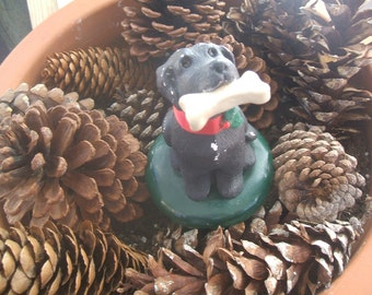 Vintage Byers Choice LTD 1990 Black Lab Dog, Holding Bone Red Satin Collar With Holy, Figurine, the Carolers