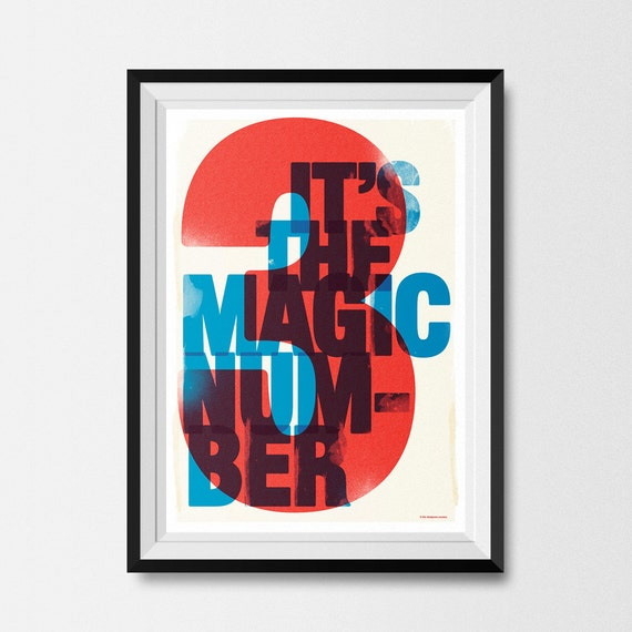 The Magic Number, Original, Vintage, Retro, Letterpress, Screenprint, style Poster, Red, White and Blue, A3