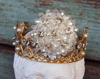 Antique Style Jeweled Crown Shabby Chic for Angel Statue Santos Ornament Distressed Metal with Aurora Borealis Rhinestones pearls ornate