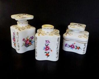 Vintage Dresser Set, Vanity Set, Thames Porcelain, Hand Painted Porcelain, Vanity Decor, Dresser Decor, Vintage Decor, Thames Japan