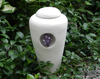 Half Size White Urn with Amethyst Crystal
