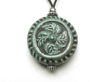 Green Swirl Medallion Urn