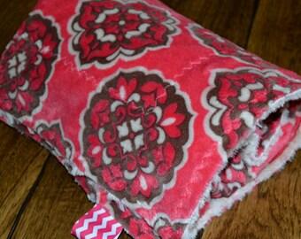 Pink Brown Cream Minky Baby Blanket