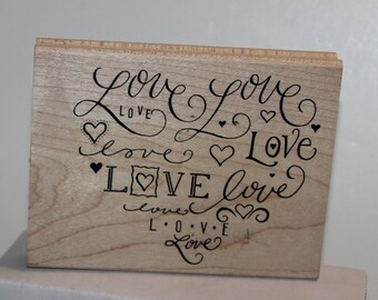 Love in different fonts Heart Rubber Stamp