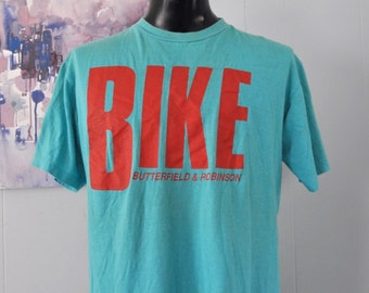 Vintage TShirt Bike Tours Butterfield Robinson Soft Thin Red Turquoise Teal Aqua Blue Tee XL