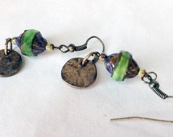 Green boho dangle earrings Czech bead earrings turban bead earrings
