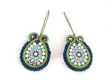 Drop blue green earrings  , embelished tear shaped earrings , soutache embroidered jewelry , zelij ethnic style earrings  , - Mona -