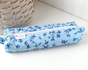 Blue Floral Pencil Case Boxy Pouch Blue Floral Print Blue Pencil Pouch