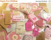 SALE Grab Bag Box Cottage Chic Pink Paper Goodies and Treasures Gift Tags Love 200 Plus Pieces