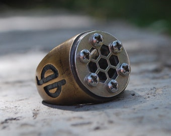 Silver Star Brass Signet ring-Sacred Geometry Ring-Steam punk-Geometric Architectural Ring-Hexagon Ring-CyberPunk-Mad Max-Grange Jewelry-MJ