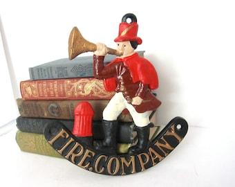 Vintage Fire Company Cast Iron Sign Plaque, Figural Fireman Trumpet Fire Sign