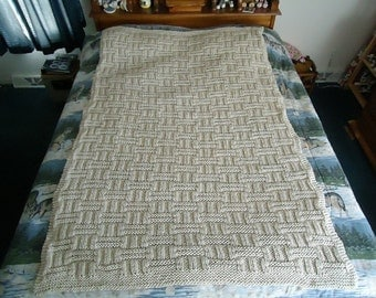 Off White Hand Knitted Long Basketweave Afghan, Blanket, Throw - Home Decor