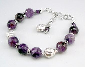 Amethyst Bracelet, Silver Bracelet for Women, Amethyst Birthstone Jewelry, 925 Silver Bracelet, Silver Bead Bracelet, Smart Jewelry