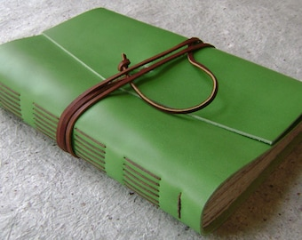 "Leather Journal, 6""x 9"", lime journal, handmade journal by Dancing Grey Studio(2059)"