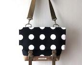 SALE - Canvas Crossbody Bag, Crossbody Bags for Travel, Black Foldover Crossbody bag, Shoulder Bag, Canvas Messenger Bag, Polka Dots Bag