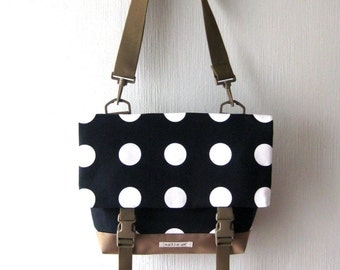 Canvas Crossbody Bag, Crossbody Bags for Travel, Black Foldover Crossbody bag, Purse, Shoulder Bag, Canvas Messenger Bag, Polka Dots Bag