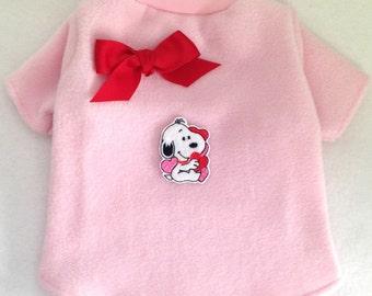 Snoopy Love Valentine's Day Cuddle Fleece or Knit Dog Shirt Clothes Size XXXS through MEDIUM