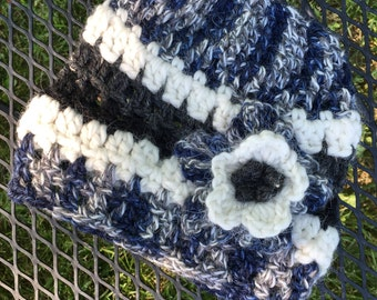 Alpaca Wool Hat with Large Flower, Hand Crocheted, Navy, White, Grey, Matching Hat and Fingerless Gloves Available