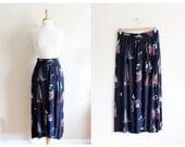 Vintage Navy Sailing Novelty Print Midi Skirt