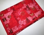 Tech Sleeve or Envelope for iPad, Machine quilted, Red Asian Print